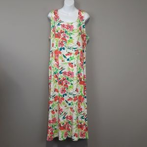 TravelSmith Bright Green & Pink Floral Maxi Dress